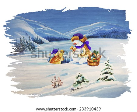 Cute Christmas Characters. Fisherman snowman fishing in front of winter landscape  - stock vector