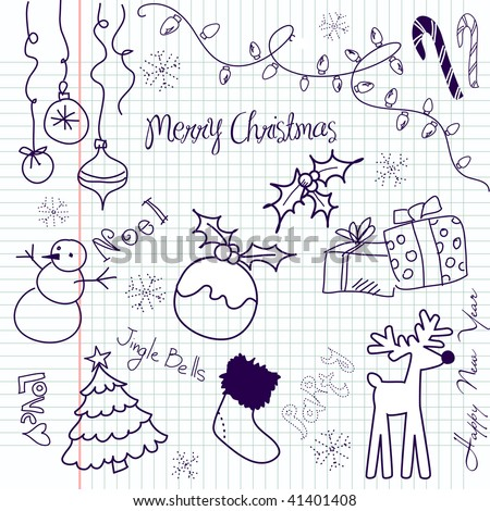 Cute Christmas doodles - stock vector
