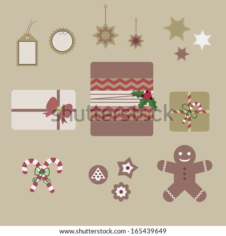 Cute Christmas elements-gifts from top view, tags, ornaments, Christmas cookies, and candy cane - stock vector