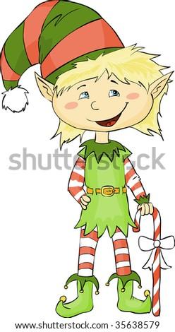 Cute Christmas elf - stock vector