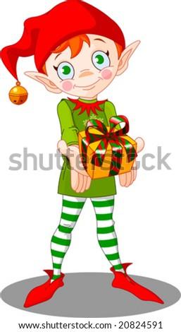Cute Christmas elf giving gift - stock vector