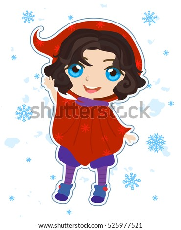 Cute Christmas elf helper in red cape