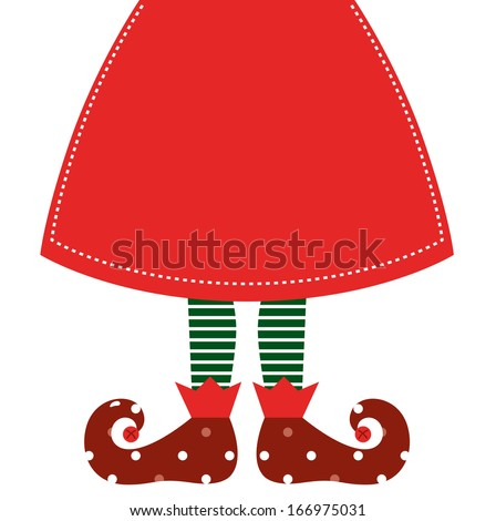 Cute Christmas elf legs with skirt isolated on white - stock vector