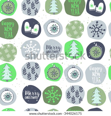Cute christmas green seamless pattern  with cute deco in cartoon style - stock vector