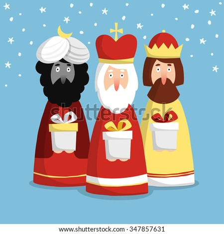 Cute Christmas greeting card, invitation with three kings, flat design, vector illustration background - stock vector