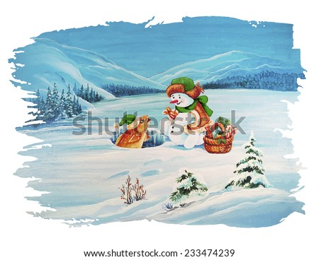 Cute Christmas Greeting Card. Snowman Fisherman shares gifts with Goldfish in the pond. - stock vector