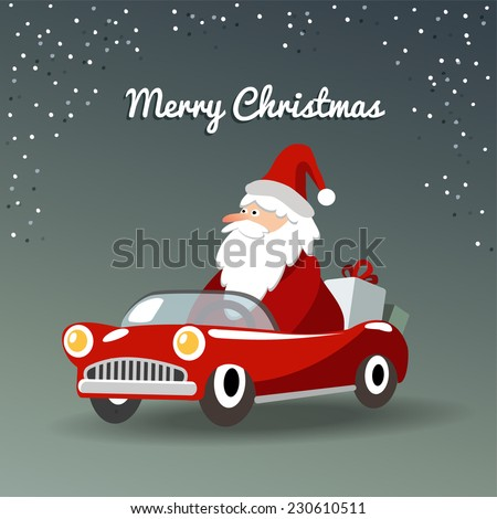 Cute christmas greeting card with Santa Claus, retro sports car and gifts, vector illustration  background - stock vector