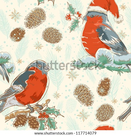 Cute Christmas hand drawn seamless retro background with bullfinch bird with red breast sitting on a tree with holly berries and fir cones - stock vector