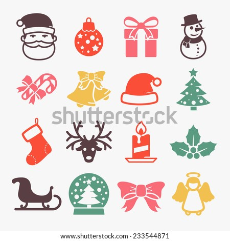 Cute christmas icons set / / Colors - stock vector