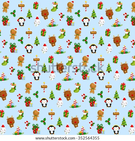 Cute Christmas Items Background - stock vector