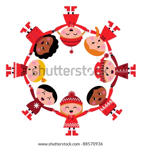 Cute christmas multicultural children in circle isolated on white - stock vector