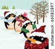 Cute Christmas Penguin - stock vector