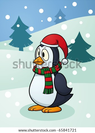 Cute Christmas penguin standing in a snowy background. Vector illustration with simple gradients. Character and background on separate layers for easy editing.