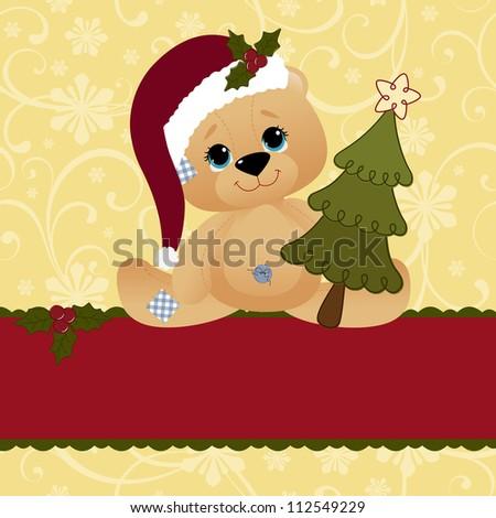 Cute christmas postcard template blank - stock vector
