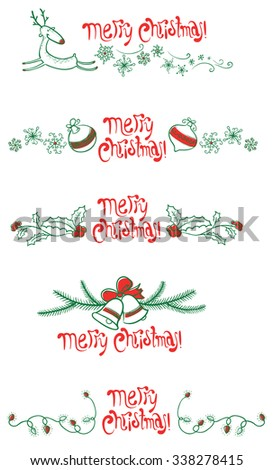 Cute Christmas red and green design elements set - stock vector