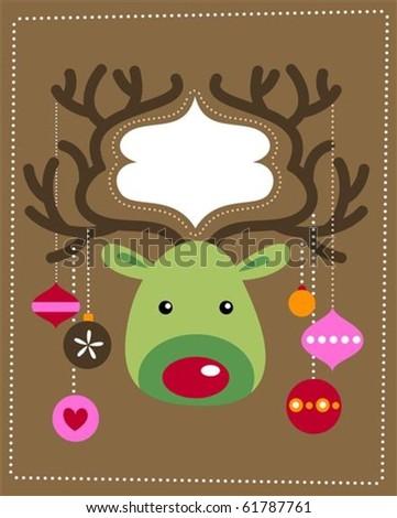Cute Christmas reindeer card - stock vector