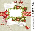 Cute Christmas scrapbook elements - stock vector