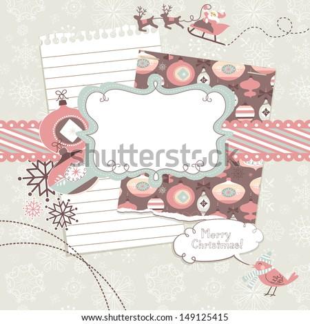 Cute Christmas scrapbook elements  - stock vector