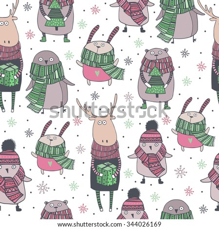 Cute christmas  seamless pattern  with cute animal in cartoon style - stock vector