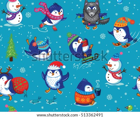 Cute Christmas seamless pattern with skating penguins, snowman and snowflakes. Funny cartoon penguin print for christmas background, wallpaper, gift wrap, fabric. Vector illustration