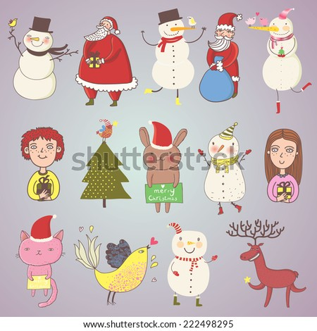 Cute Christmas set in vector. Cartoon characters in holiday style. Santa, snowman, rabbit, bird, deer, boy, girl and others - stock vector
