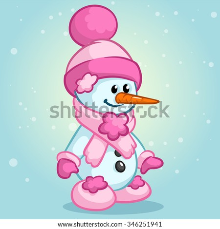 Cute Christmas snowman with Santa hat and scarf isolated on snowy background. Vector illustration - stock vector