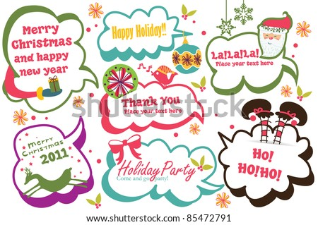 cute Christmas speech bubbles set - stock vector