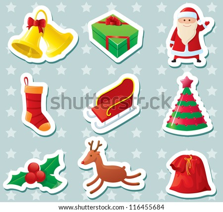 Cute Christmas stickers set