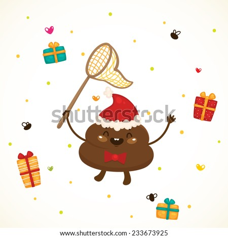Cute Christmas turd and flies, vector. - stock vector