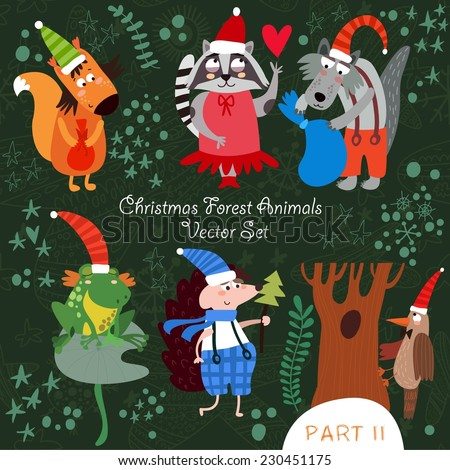Cute Christmas vector set of  Woodland and Forest Animals.Squirrel, frog, woodpecker, hedgehog, wolf, raccoon.Part II (All objects are isolated groups so you can move and separate them) - stock vector