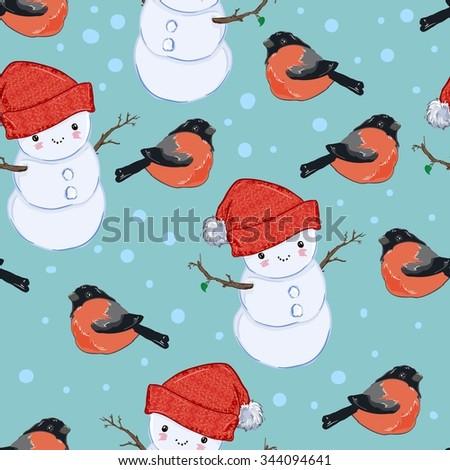 cute Christmas wrapping paper vector illustration Bullfinch snowman seamless - stock vector