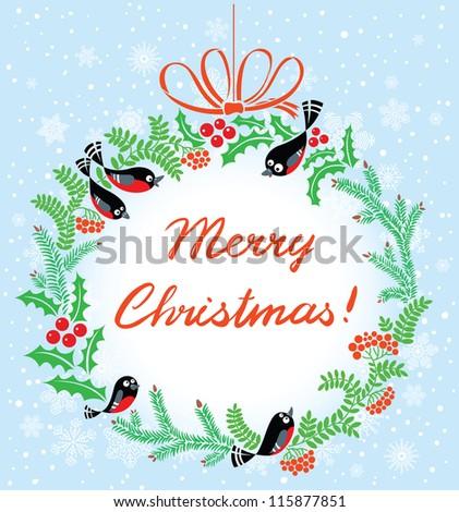 Cute Christmas wreath with birds - stock vector