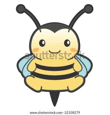 Cute chubby bee - stock vector