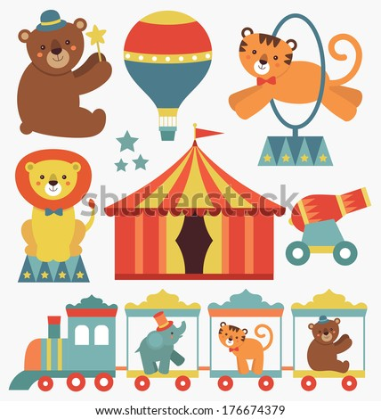 cute circus animals collection. vector illustration - stock vector