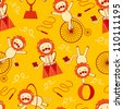 Cute circus lions seamless pattern - stock vector
