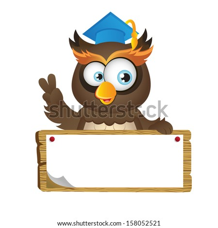 Cute clever Owl holding a wooden placard (VECTOR) - stock vector