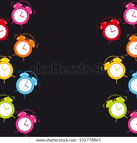 cute clock alarm with space for copy over black background. vector - stock vector