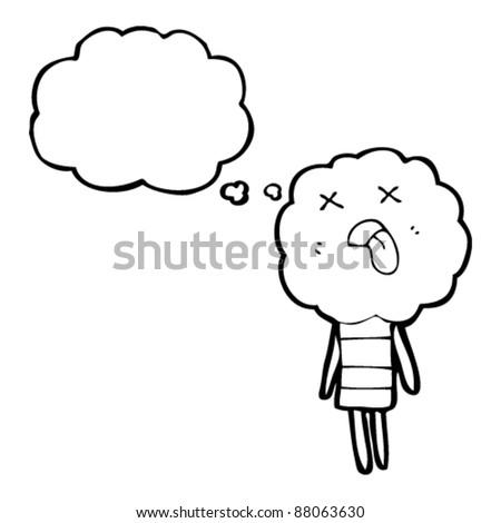 cute cloud head creature cartoon - stock vector