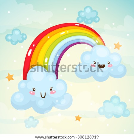 Cute clouds and a rainbow, children's illustration, vector. - stock vector
