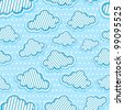 Cute clouds seamless pattern - stock vector