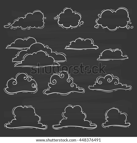 Cute clouds set with doodle art on chalkboard background - stock vector