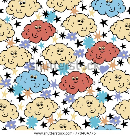 Cute clouds vector seamless pattern. Kids design. Childish background.
