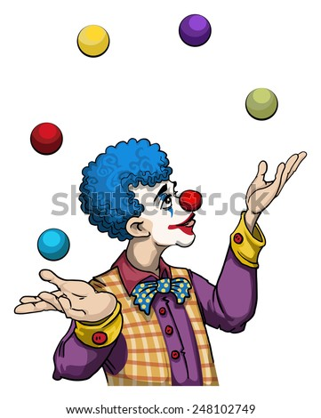Cute clown character juggling, vector illustration - stock vector