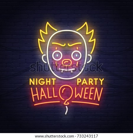 Cute Clown Neon Sign. Night Party. Happy Halloween. Neon Sign, Bright  Signboard