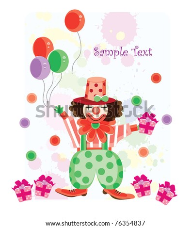 Cute clown with romantic background