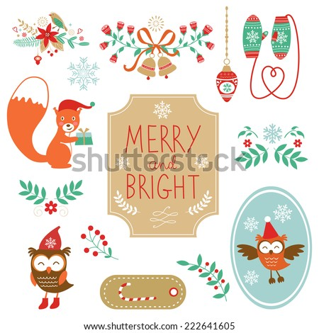 Cute collection of Christmas decorative elments. Vcetro illustration - stock vector