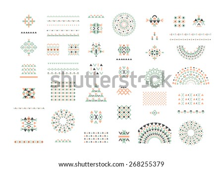Cute Collection of Ethnic patterns. Geometric and aztec decor elements. Trendy  backgrounds and logotypes. Vector. Isolated.  - stock vector