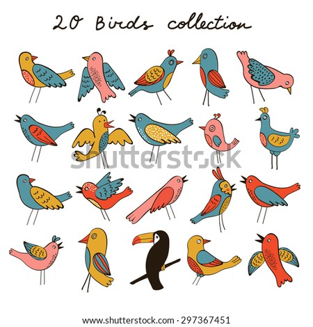 Cute collection of funny birds. vector illustration - stock vector
