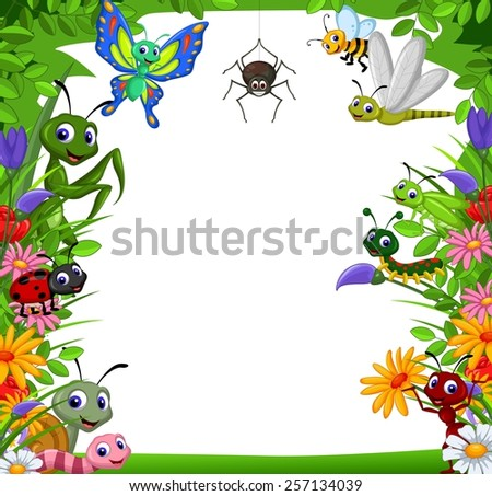 cute collection of insects in the flower garden  - stock vector