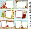 Cute collection of kids christmas postcards - stock photo
